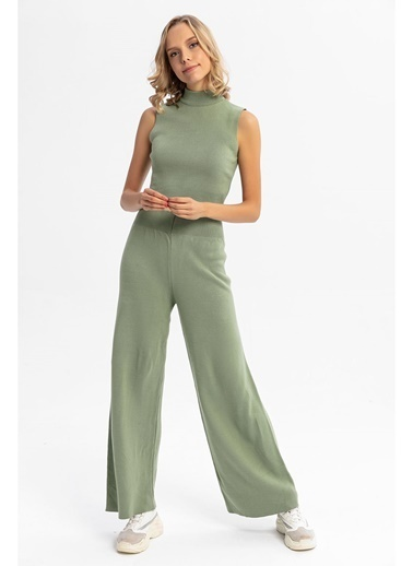 Tiffany&Tomato Beli Lastikli Bol Paça Triko Pantolon - Mint Yeşil